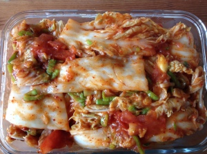 cool cabbage kimchi with tomatoes