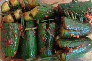cucumber kimchi filled with chives mixture